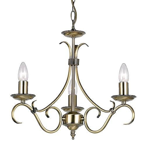 Endon 2030-3AN Traditional Antique Brass 3 Arm Ceiling Light