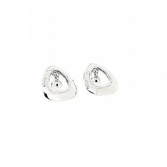 TOC 925 Silver Cut Out Triangle jingling Ball Drop Stud Earrings