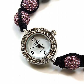 Echo Ladies Rose Pink Hematite Disco-balla Bracelet Watch