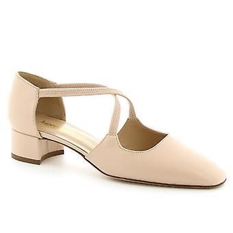 Leonardo Shoes Escarpins à talons bas faits à la main pour femme en cuir de veau rose poudre