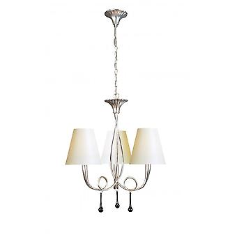 Mantra Paola Pendant 3 Light E14, Silver Painted With Cream Shades & Black Glass Droplets