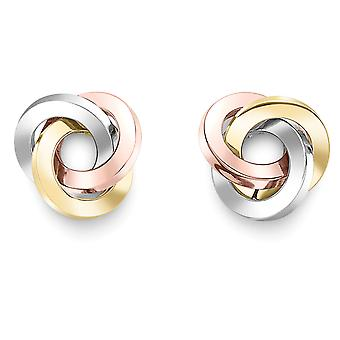 Jewelco London 9ct Tri-Colour Gold Trilogy Knot Stud Earrings