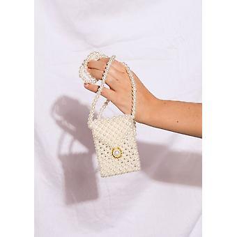 Faux Perle Schulter Micro Mini Umschlag Telefon Tasche weiß