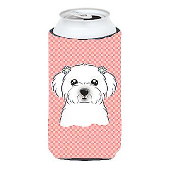 Checkerboard Pink Maltese Tall Boy Beverage Insulator Hugger BB1208TBC