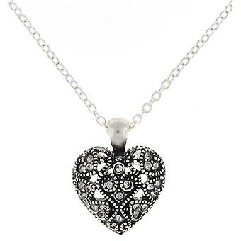 Silver and Crystal Filigree Love Heart Pendant Necklace Chain