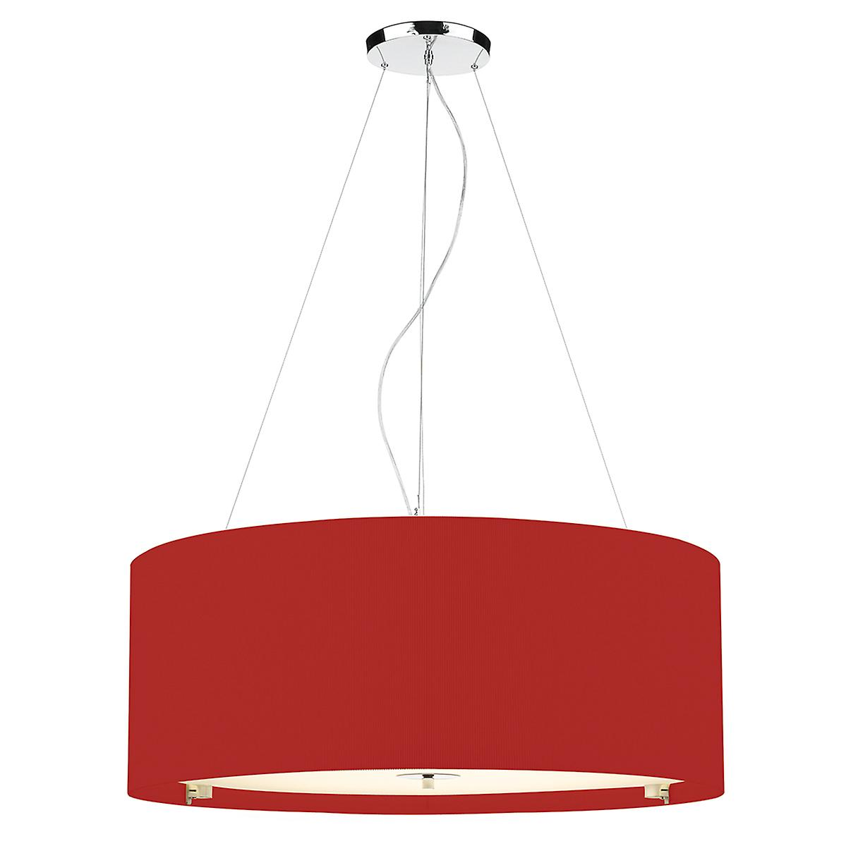 Dar ZAR0625 Zaragoza 90cm Red Cotton Drum Pendant With Glass