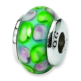 Sterling Silver Polished Antique finish Reflections Kids Blue Murano Glass Bead Charm