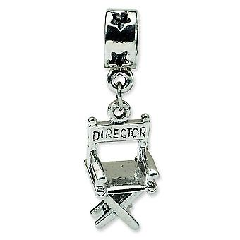 Sterling Silver Dangle Polished Antique finish Reflections Directors Chair Bead Charm