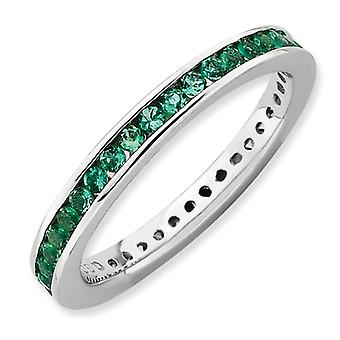 2.5mm Sterling Silver Stackable Expressions Polished Created Emerald Ring - Ring Size: 5 to 10