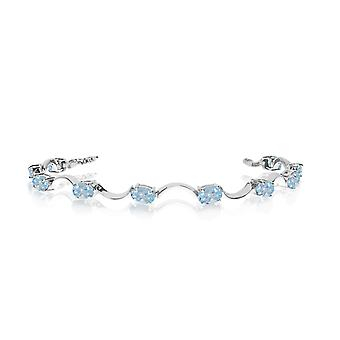 14K White Gold Oval Aquamarine Curved Bar Bracelet
