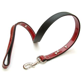 Leather Lead Red Bones 20mm X 100cm