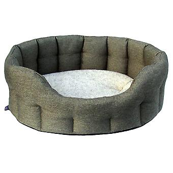 Premium Oval Drop Front Softee Bed Basketweave Tweed Size 5 76x64x24cm