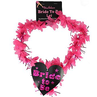 Miss Behave Bride To Be Hot Pink Foil Lei With Heart Bride To Be Logo