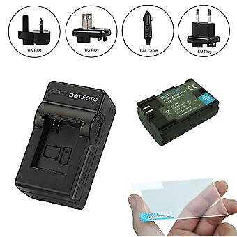 Dot.Foto LP-E6 - Battery (1600mAh), Battery Travel Charger &  Optical Glass LCD Screen Protector 3 in 1 kit for Canon EOS 70D