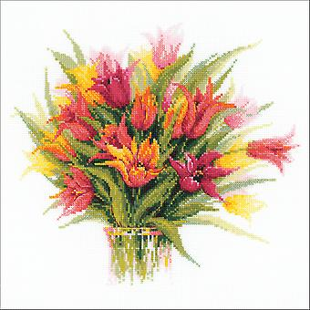 Tulips In A Vase Counted Cross Stitch Kit-15.75