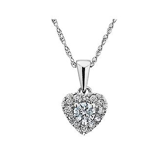 Diamond Heart Pendant Necklace 1/4 Carat (ctw) in 10K White Gold with Chain