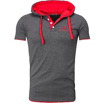 Akito Tanaka T-Shirt contrast POLO HOODED charcoal/Red