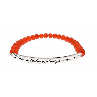 W.A.T 925 Sterling Silver 'Never A Failure Always A Lesson' Red Jade Quote Bracelet