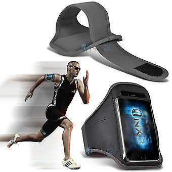 Samsung Galaxy A7 Fitness Running Jogging Cycling Gym Armband Holder Case Cover (Grey)