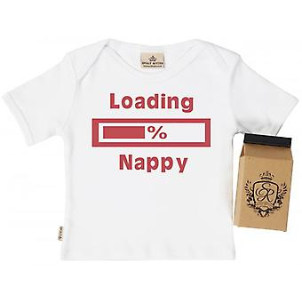 Spoilt Rotten Loading Nappy Baby T-Shirt 100% Organic Cotton