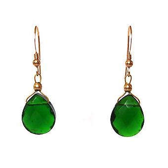 Tourmaline gold plated ladies earrings quartz green drop earrings earrings