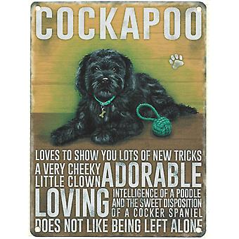 Large Wall Plaque 400mm x 300mm - Black Cockapoo