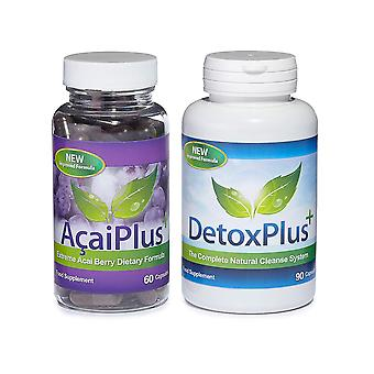 Acai Plus and Detox Plus Cleanse Combo Pack - 1 Month Supply - Acai Berry Combo Pack - Evolution Slimming