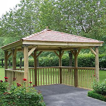 Square 3.5m Wooden Spa Garden Gazebo with Base