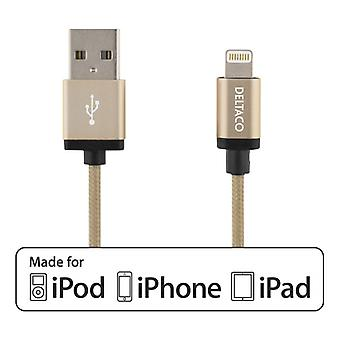 DELTACO PRIME USB Lightning cable, MFi, Cloth, 1 m, gold