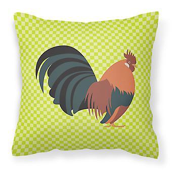 Dutch Bantam Chicken Green Fabric Decorative Pillow