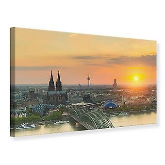 Canvas Print Skyline Cologne At Sunset