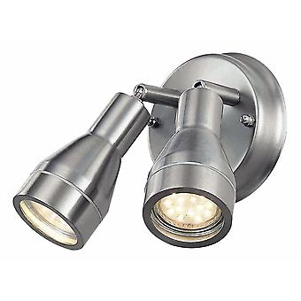 Outdoor IP44 Adjustable Double Spot Wall Light in Stainless Steel