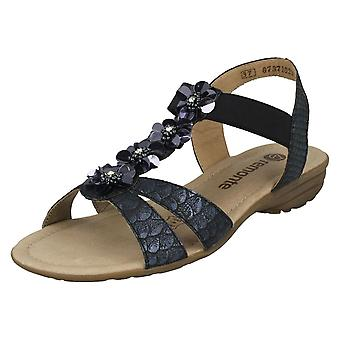 daacf4fb3f70 Ladies Remonte Flower Detailed Sandals R3633-90 - Silver Platinum Synthetic  - UK Size
