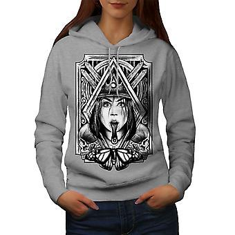 Dziewczynka Korona język moda kobiety GreyHoodie | Wellcoda