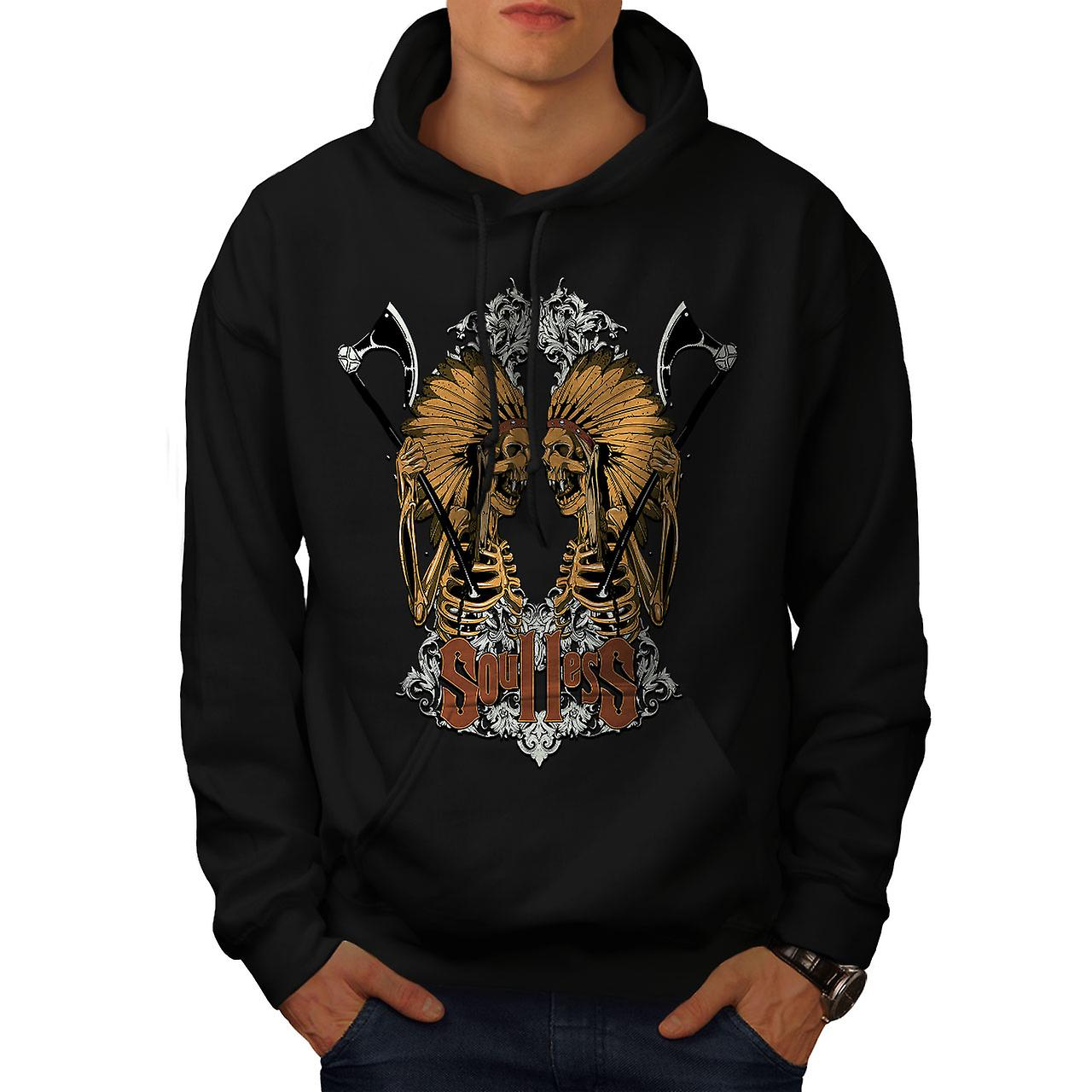 Soulless Indian Skull Men Black Hoodie | Wellcoda
