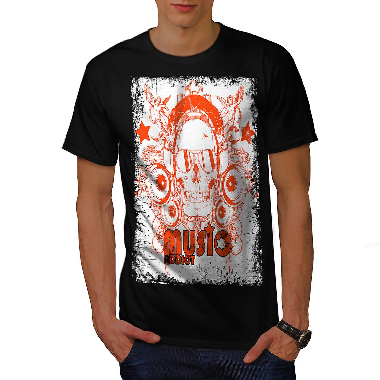 Skull Headphones Music Men Black T-shirt | Wellcoda