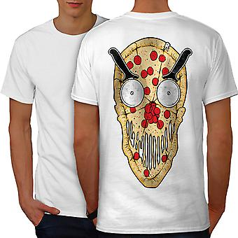 Pizza Face Slice Funny Men WhiteT-shirt Back | Wellcoda