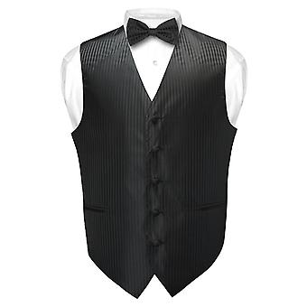 Men's Dress Vest & BOWTie Vertical Striped Design Bow Tie Set for Suit Tux