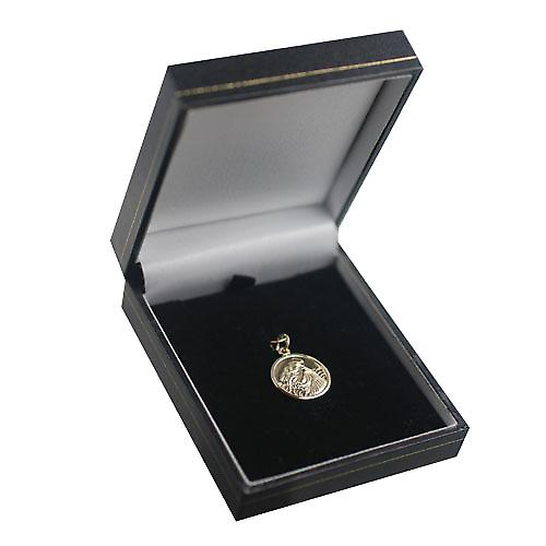 9ct Gold 18mm round St Anthony of Padua Pendant