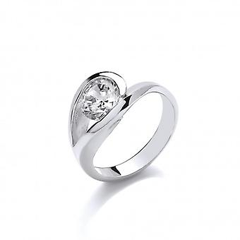 Cavendish French Elegant Silver and CZ Solitaire Eye Ring