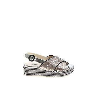 Alberto Gozzi women's DEMETRAACCIAIO silver leather sandals