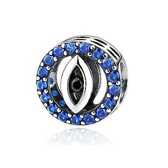 Oko w 925 charms srebrny koralik i krystalicznie