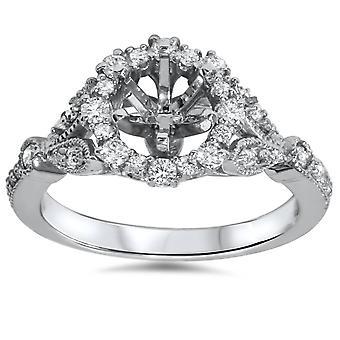 3/8 TC Halo Vintage diamante compromiso ajuste 14k oro blanco Semi montaje