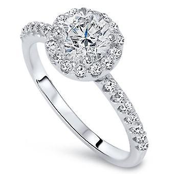 Гало бриллиантовое обручальное кольцо 7 / 8ct раунда бриллиантовая огранка 14k белое золото