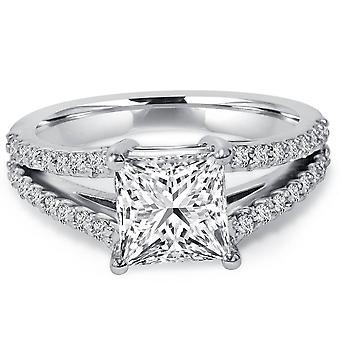 1 1/3Ct Princess Cut Split Shank Enhanced Diamond Engagement Ring 14K White Gold