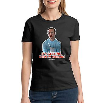 Napoleon Dynamite Getting Serious Outline Women's Black Funny T-shirt