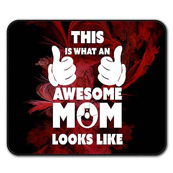 Awesome Mom Cool Funny  Non-Slip Mouse Mat Pad 24cm x 20cm | Wellcoda