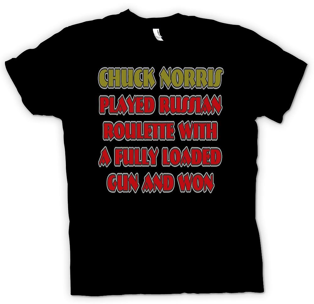 Mens T-shirt - Chuck Norris Played Russian Roulette - Funny