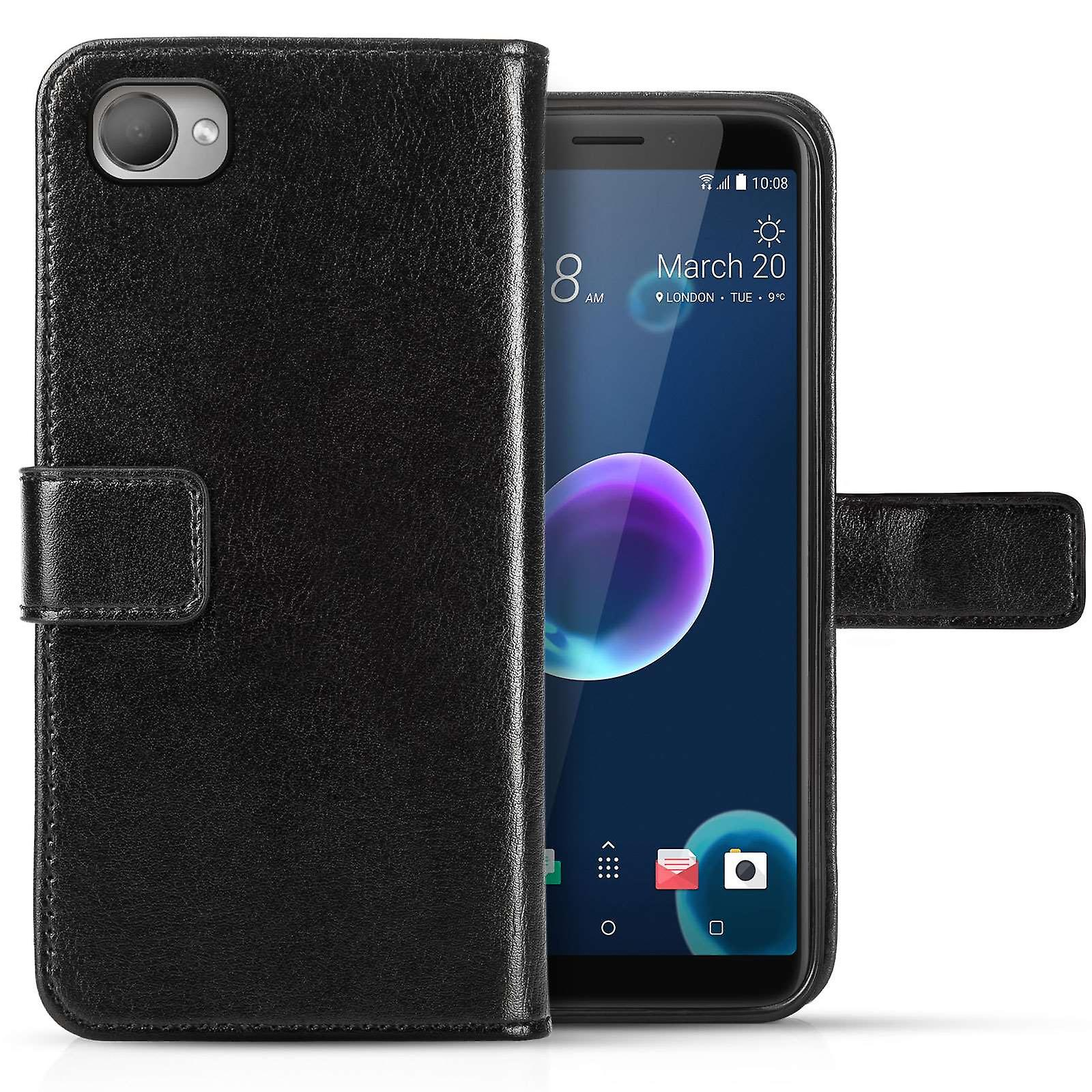 HTC Desire 12 PU Leather ID Stand Wallet - Black