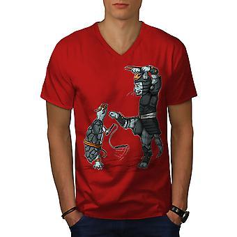 Tierische Kampf Männer RedV-Neck T-shirt   Wellcoda